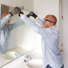 Remove a Glued on Bathroom Mirror. Before remodeling a bathroom and adding  a new vanity
