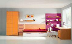 Dormitorio Juvenil en tonos naranjas y fucsia. Ideal para una niña