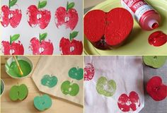 Apple Stamp  Easy and perfect to work as stamps, apples can be used in children activities but also to print fabrics! A nice table towel or a bag would be good ideas for this!