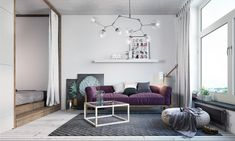 Living room. Two Takes On The Same Super-Small Apartment. Interior employs bold retro and industrial themes in bright colors. The second enjoys a casual, cute, and Scandinavian-inspired style with plum accents.