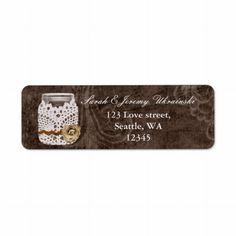 rustic mason jar wedding return address label