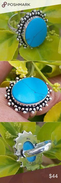 "RARE SLEEPING BEAUTY TURQUOISE RING 7/8"" Sleeping Beauty Turquoise Ring (Size 6.5) in Sterling Silver ""Stamped 925"" Jewelry Rings"