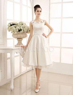 Tea-Length Ivory Reception Wedding Dress with Sheer Lace - Milanoo.com
