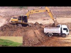 Excavator digging deep hole | Cat excavator loading dump truck | Amazing...