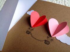 Paar Herz Heißluft-Ballon-Karte rot / rosa von theadoration auf Etsy