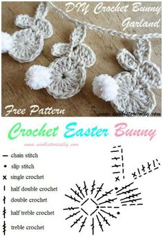 40 free crochet bunny patterns crochetbunnypattern crochet easter bunny garland easy crochet flower appliques free patterns for beginners Crochet Double, Single Crochet, Amigurumi Patterns, Knitting Patterns, Crochet Patterns, Easy Knitting Projects, Crochet Projects, Crochet Easter, Appliques Au Crochet
