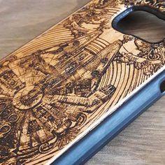 Star Wars Millennium Falcon Wood Phone Case #phonecase #starwars #woodphonecase