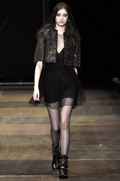Black dress with tiny golden square studs embellishment cropped gilet in luxus #punk #style   Saint Laurent Fall Winter 2013 #fashion #trend #trends