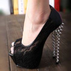 Sexy Black Sky-High Mesh Upper Peep-toe Stiletto Heels with Rivets $80.99
