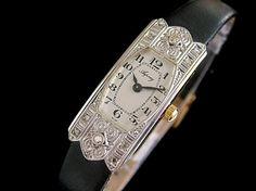 #Asprey 18ct gold & #diamond ladies watch – c1920s