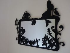 The Little Mermaid mirror, this is so cool. I wish I was still in studio and could laser cut stufff Little Mermaid Bathroom, Mermaid Bedroom, Ariel The Little Mermaid, Disney Bathroom, Mermaid Nursery, Ariel Mermaid, Disney Love, Disney Magic, Disney Stuff