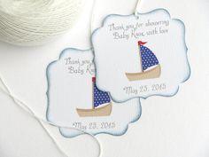 Étiquettes de faveur nautiques bébé douche, de voilier bébé douche Merci tags, de balise de cadeau personnalisé bébé douche, de fête nautique favor tags