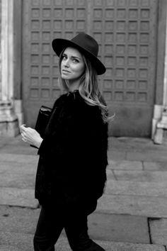black on black jacket coat hat tumblr streetstyle style fashion women blond womenswear