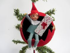 Mid Century Christmas Ornament - Felt Santa's Elf Doll Decoration