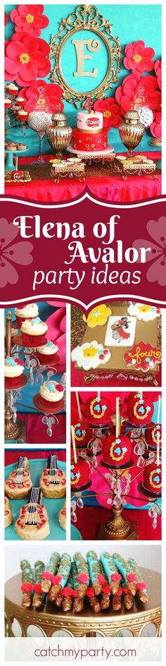 Take a look at this pretty Elena of Avalor birthday party! Love the red candy apples and their stand! See more party ideas and share yours at CatchMyParty.com
