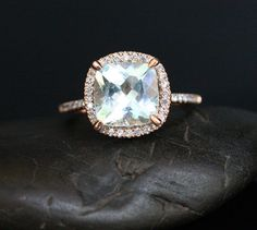 Aquamarine Engagement Ring Diamond Ring in 14k Rose Gold with