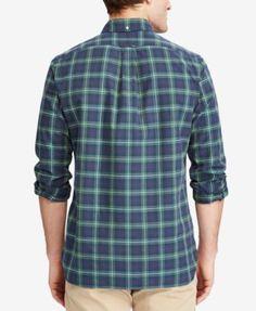 Polo Ralph Lauren Men's Big & Tall Iconic Plaid Oxford Shirt - Army Green/Navy 2XB