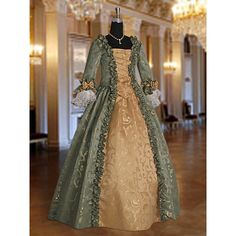 Baroque Renaissance Masquerade Dress No 3 Green ($311) ❤ liked on Polyvore featuring dresses, green et women's clothing
