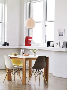 Mapp Dining Table with Eames Molded Plastic Dowel-Leg Side Chairs