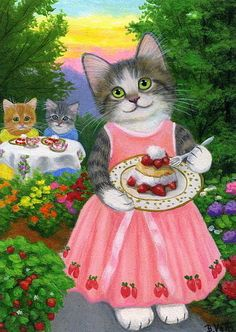 Kittens cats strawberries summer garden flowers original aceo painting art #Realism