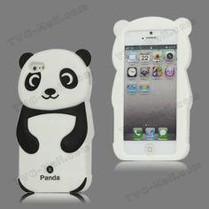 Lovely 3D Panda Silicone Case Cover for iPhone 5 - Black