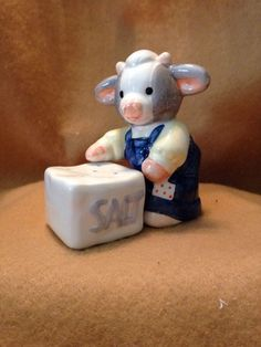 Marys Moo Moo Cow With Salt Lick Salt And Pepper Shakers