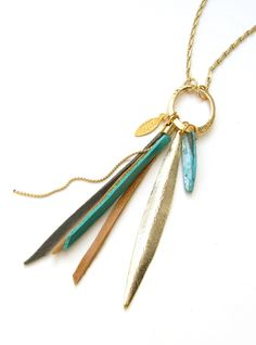 Tassel Jewelry Feather and Leather Fringes Long Necklace- Turquoise and Brown Necklace- Bird of Paradise by ZOZidesign on Etsy https://www.etsy.com/listing/155099861/tassel-jewelry-feather-and-leather