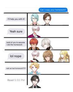 Can I copy your homework? Meme tag yourself Homework Meme, Mystic Messenger Jumin, Hidden Mystery, Jumin Han, Saeran, Manga Anime, Haha, Fandoms, Drawings