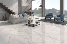 White gloss floor tiles at trade prices from Direct Tile Warehouse. See quality large floor tiles including stylish large white tiles Large White Tiles, Large Floor Tiles, Grey Floor Tiles, Tiled Floors, Living Room White, White Rooms, Living Room Decor, Floor Tile Living Room, Living Rooms