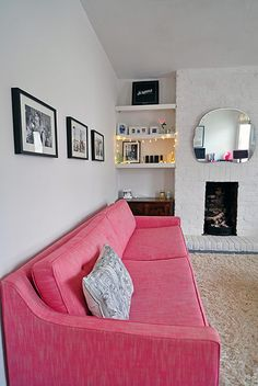 Love this bright pink Fancy Nancy Sofa Workshop sofa as seen in writer Charlotte Duckworth's home.