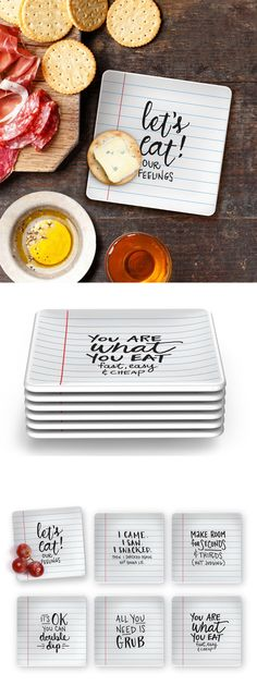 If you've got something to say but just can't spit it out, no worries, just pass these Noted Appetizer plates and they will do the work for you. Check it out==>   Fred & Friends Noted Appetizer Plates   http://gwyl.io/fred-friends-noted-appetizer-plates/