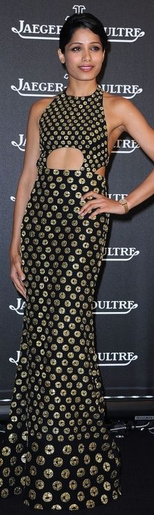 Who made Frieda Pinto's black and gold gown that she wore in Venice on September 4, 2012? Dress – Alexander McQueen