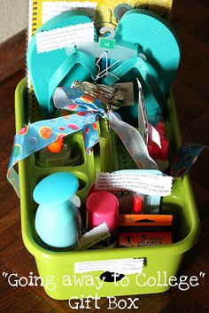 Wish someone would've given me one! Going to College Gift Basket: Use things like flip flops, notebook, Febreeze, earplugs, silly string, hand sanitizer, Pop Tarts, etc. Cute!