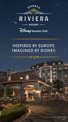 Introducing the newest proposed Disney Vacation Club® Resort - Disney's Riviera Resort. Soon you'll be able to get away to a European-inspired retreat infused with the magic of Disney. Discover details drawn from Europe & the Mediterranean that Walt Disney fell in love with once upon a time. Enjoy a unique art collection inspired by European masters celebrating beloved Disney Characters & icons, nestle into a lovely café, or dine in delight with a perfect vista of nearby nighttime spectaculars