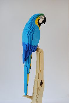 This is a blue and gold Macaw. It's a large Macaw, living in the nothern region of South America. Lego Sculptures, Animal Sculptures, Arts And Crafts For Kids Toddlers, Lego Animals, Lego Construction, Cool Lego Creations, Lego Worlds, Lego Design, Lego Models