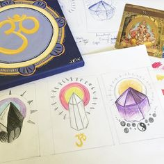 sketching up some ideas for a illustration series  #illustration #illustrations #drawing #drawings #sketch #sketches #sketchbook #wip #initialideas #foundation #research #create #ideas #crystal #crystals #symbols #ganesha #love #light #white #purple #pink #yellow #black #orange