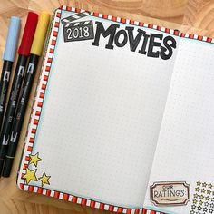 planning in my bullet journal Movies tracker page in my bullet journal! Bujo layout created with Tombow markers in a dot grid journal.Movies tracker page in my bullet journal! Bujo layout created with Tombow markers in a dot grid journal. Bullet Journal Tracker, Bullet Journal Blog, Bullet Journal Topics, Bullet Journal Agenda, Bullet Journal Ideas Pages, Bullet Journal Spread, Bullet Journal Layout, Bullet Journal With Dots, Bullet Journal Markers