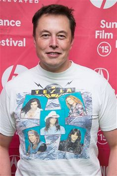 "Elon Musk wearing a ""Tesla"" (the 80s band) T-shirt at Sundance. For more, check out:  www.evannex.com"