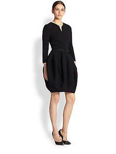 Oscar de la Renta Wool Bubble-Skirt Dress
