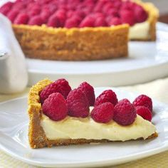 Old Fashioned Vanilla Custard Pie with Raspberries