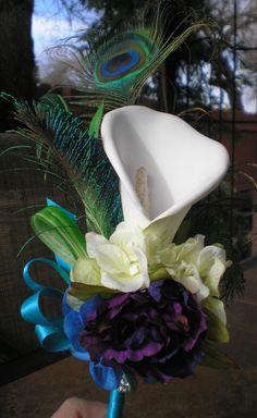Calla Lily Peacock Feathers Bridesmaids by BittysJewelryAndMore, $40.00