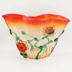 Murano Glass Abstract Flower Bowl. I absolutely love Murano glass of all types. This bowl is fabulous with the bright orange color. What a great piece it would be in my home.