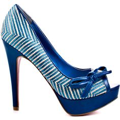 Paris Hilton Women's Beth - Blue Woven Patent ($82) ❤ liked on Polyvore featuring shoes, pumps, heels, blue, heels.com, multi colored pumps, multi-color pumps, patent leather pumps, colorful pumps и patent leather shoes