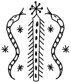 Symbols for Their Gods Damballah-Wedo Vodou Veve - A voodoo symbol of serpent worship.Damballah-Wedo Vodou Veve - A voodoo symbol of serpent worship. Voodoo Priest, Voodoo Tattoo, Voodoo Magic, Occult Symbols, Mayan Symbols, Occult Art, Viking Symbols, Egyptian Symbols, Viking Runes