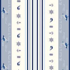 Tissu coton enduit - Tissu au mètre cretonne antitache - 155cm - Vague - mouette - mer - Stof