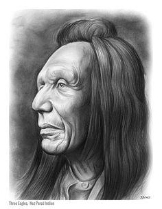 Three Eagles, a Nez Percé Indian - A graphite pencil sketch by Greg Joens. www.gregjoens.com