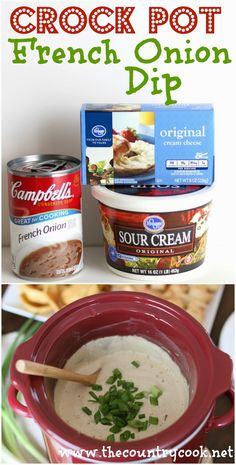Crock Pot French Onion Dip - only 3 ingredients! So creamy and easy! Must-make for Super Bowl party!