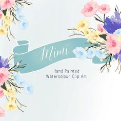 Watercolour Flowers  Hand Painted Clip Art  Mimi by CreateTheCut, £3.50