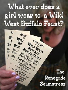 What ever does a girl wear to a Wild West Buffalo Feast? Shirt Transformation, Renegade Seamstress, Barn Dance, Admit One, Cute Tshirts, School Teacher, Girls Wear, Sewing Clothes, Wild West