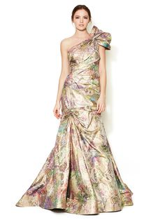 I would love to have an event to wear this to....Metallic Jacquard One Shoulder Gown by Monique Lhuillier at Gilt